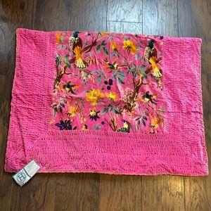 Karma Life Pink Velvet Bird Throw Woolen Stitch